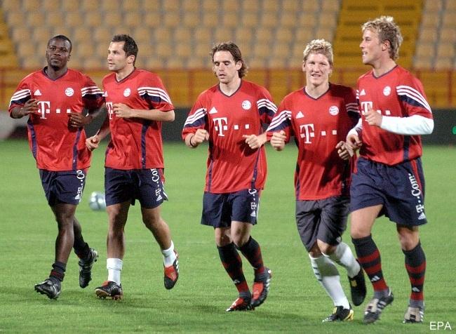 Players of Bayern Munich training