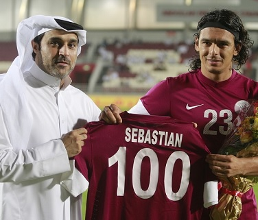 Soria joined the 100 club as Qatar beat Uzbekistan