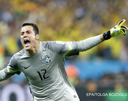 Cesar the hero as Brazil reach quarterfinals